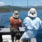 fish on for three anglers fishing tuna coast and coiba island
