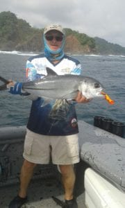 jack caught while fishing inshore popping near the rocks cebaco island