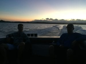 relaxing while the sun comes up before a big day of fishing in panama