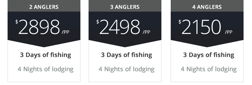 pricing for 3 days fishing 4 nights lodging