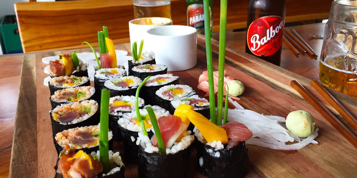 chef style fresh sushi guests caught that day while fishing in Panama