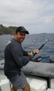 hooked up on a fish inshore fishing