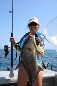 amberjack caught using jigging technique tuna coast panama cebaco bay