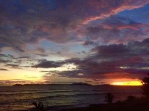 rainy season sunset looking over panama tuna coast while at panama fishing lodge